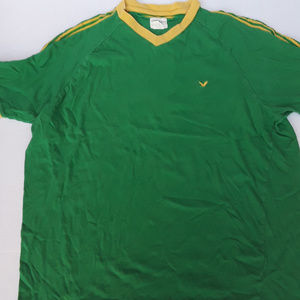 American Eagle Outfitters shirt green yellow trim